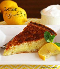 Lemon Buttermilk Pie - Buttermilk pies are really custard pies made with a buttermilk base as opposed to using milk or cream. Buttermilk gives a nice sharp edge to the flavor, and they are among some of the most beloved of Southern pies.