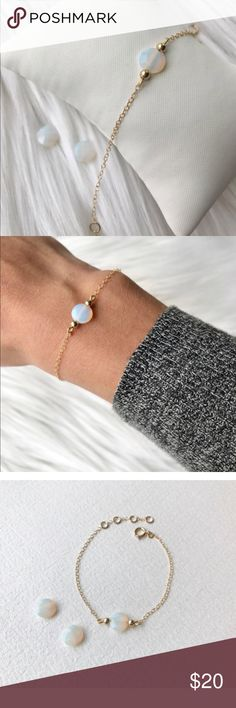 NWT ✨ 14k Gold Filled Opal Stone Chain Bracelet This gorgeous opal stone bracelet is a wonderful addition to any collection. It is delicate and lightweight.  ✨14k Gold Filled so it is made to last! 71/2 inches long with two inch extender. If you think you need longer feel free to ask and I will do that for you!   All jewelry comes from my Etsy shop, ShopKLLO! It is all handmade by me!   10 % of all my jewelry profits are donated to the Bags of Hope New England. Etsy Jewelry Bracelets