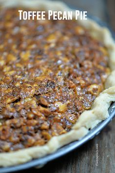 Toffee Pecan Pie With Pie Crust, Eggs, Sugar, Corn Syrup, Vanilla, Butter, Salt, Pecans, Toffee Bits