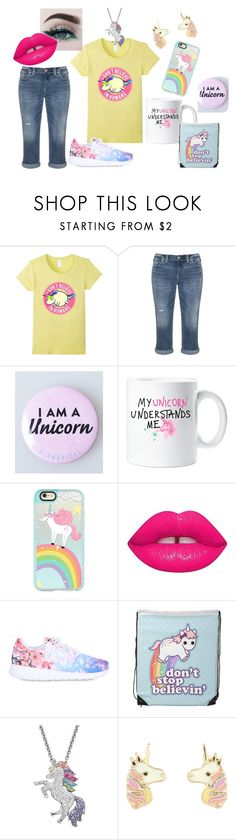 """""""I don't Believe In Humans Funny Unicorn Set"""" by sonya-bernhart on Polyvore featuring Silver Jeans Co., Casetify, Lime Crime, NIKE, Artistique and Accessorize"""