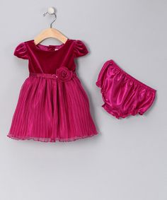 Take a look at this Pink Rosette Velour Dress & Diaper Cover - Infant by Blow-Out on #zulily #fall today!