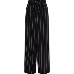 Black Stripe Tie Waist Wide Leg Trousers (2.025 RUB) ❤ liked on Polyvore featuring pants, striped pants, striped wide-leg pants, wide-leg pants, tie waist pants and wide leg trousers
