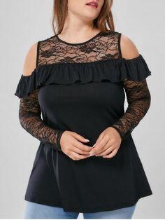 Plus Size Lace Yoke Flounced Cold Shoulder Blouse