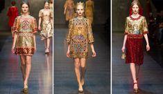 Fall 2013 Dolce & Gabbana. Influência dos mosaicos Bizantinos na moda contemporânea.