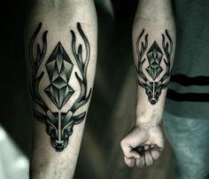 Arm Dotwork Deer Diamond Tattoo by Kamil Czapiga