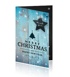 Merry Christmas kerstkaart zakelijk azuur blauw hout