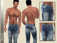 These are actually my first jeans for men in TS4. I chose a worn version with low waist. I hope you like them.  Found in TSR Category 'Sims 4 Male Everyday'
