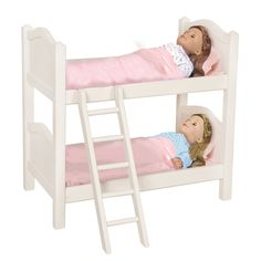 Perfect for doll sleepovers, this bunk bed was designed for dolls up to 21 inches. The bed features hardwood posts and rubber tips on the ladder feet to prevent scuffing.