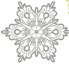 Crochet Stars, Crochet Snowflakes, Thread Crochet, Crochet Stitches, Embroidery Stitches, Crochet Diagram, Crochet Motif, Knit Crochet, Snow Flakes Diy