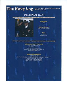 "SDC Carl Edward Clark risked his life putting out a raging fire on his ship the USS Aaron Ward DM4 during a kamikaze attack on May 3, 1945. He was an African American in a racially segregated Navy and was not even considered for an award for his heroism.  Recently SECNAV Mabus awarded Chief Clark the Navy & Marine Corps Commendation Medal with Combat ""V"".  For more information, go to www.navylog.org"