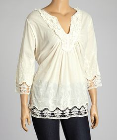 Look at this Simply Irresistible Ivory Embroidered Notch Neck Top - Plus on #zulily today!