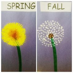 "Dandelion Painting, paint with a fork for spring and Q-tip for fall. Read the book ""The Dandelion Seed"" by Joseph Anthony"