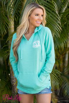 The Pink Lily Boutique - True Colors Vinyl Monogram Hoodie Mint, $44.00 (http://thepinklilyboutique.com/true-colors-vinyl-monogram-hoodie-mint/)