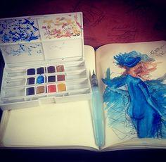 Reproduction à ma façon d'un tableau vu lors d'une visite d'un musée en Autriche,  Démarche : Crayon Noir 0,5 mm Aquarelles, Nuance de bleu, Marron, Jaune et Orange.