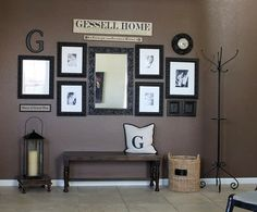 """I have decided this is my favorite entry way I love the Letter, but thinking since our last name is small I could put the whole thing with an """"est."""" date too.   I think it is both beautiful and functional but maybe add some cute baskets underneath...http://indulgy.com/post/ABCJ5H6NE1/entry-way-love-the-g#/do/page/1"""