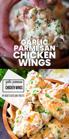 Garlic Parmesan Chicken Wings Delicious grilled chicken wings tossed in a garlic parmesan sauce. These are great for an easy dinner in under 30 minutes. Make these for a quick and easy dinner recipe tonight. Perfect when you have chicken in the freezer! Garlic Parmesan Wing Sauce, Baked Garlic Parmesan Chicken, Parmesan Recipes, Chicken Wing Sauces, Chicken Wing Recipes, Freezer Chicken, Sauce For Chicken Wings, How To Grill Chicken, Grilling Chicken