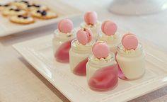Panna cotta with lychee-rose-raspberry jelly and mini raspberry macaron verrines, via Flickr.