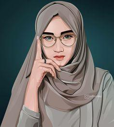 Vector Portrait, Digital Portrait, Portrait Art, Girl Cartoon, Cartoon Art, Line Art Vector, Islamic Cartoon, Hijab Cartoon, Creative Artwork