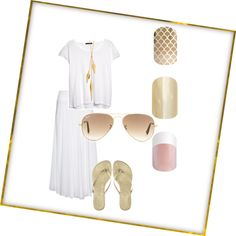 Simple summer gold by jessicajeanhanna on Polyvore featuring polyvore, fashion, style, MANGO, Calypso Private Label, Dinny Hall and Ray-Ban