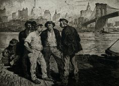 Dock Workers nder the Brooklyn Bridge,  c. 1916-18.JPG (1024×748)
