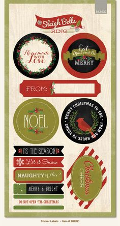 My Mind's Eye - Sleigh Bells Ring Collection - Christmas - Cardstock Stickers - Gift Labels
