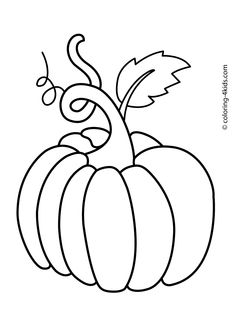 Pumpkins cornstalks and apples coloring pages ~ Pumpkin Coloring Template | Colouring-in | Kids Club ...