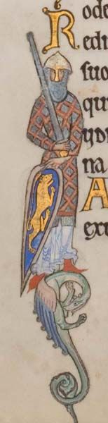 Glasgow University Library. The Hunterian Psalter. England: c. 1170. Sp Coll MS Hunter U.3.2 (229). folio 54v: historiated initial I depicting a crusader (psalm 34)