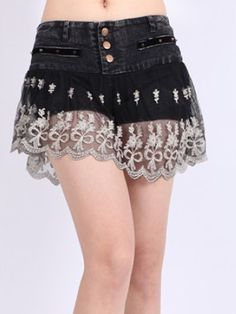 denim shorts black lace skirt overlay