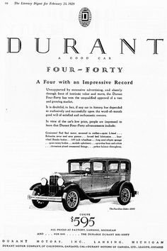 1929 Durant Four-Forty Four-Door Sedan  --Pinned by WhanotGems.Etsy.com