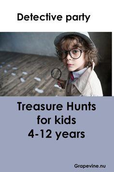 Treasure Hunt Birthday, Treasure Hunt For Kids, Treasure Hunt Clues, Mystery Games For Kids, Spy Kids, Kids Party Games, Detective Crafts, Detective Party, Spy Birthday Parties