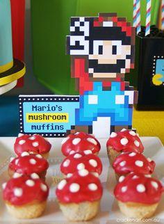 Mario mushrooms at a Arcade Party #arcade #partyfood