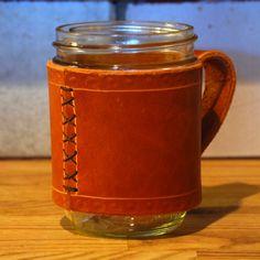 Leather Wrapped Mason Jar Mug by YamaBushiWorkshop on Etsy, $24.00. Nice for the men in my life.