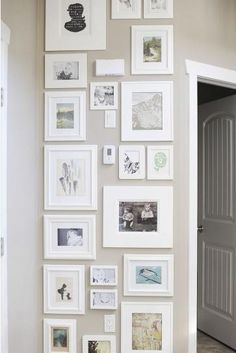 love this idea for the end of the hallway. Love the white frames especially. Photo Wall Collage, Collage Frames, Picture Collages, Picture Walls, Photo Walls, Gallery Wall Layout, Gallery Walls, Wall Spaces, White Frames