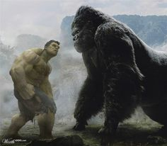 Hulk and King Kong.Hulk would win! But it would be a bad ass fight! Hulk Marvel, Marvel Comics, Marvel Heroes, Marvel Fight, Hulk Avengers, Marvel Villains, Comic Book Characters, Comic Book Heroes, Comic Character
