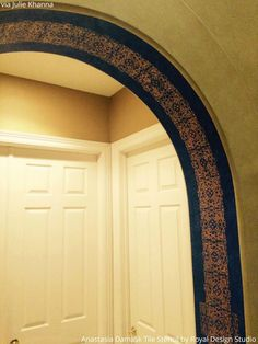 17 Floor to Ceiling Tile Stencils Transformations using Royal Design Studio Stencils - DIY Stenciled and Painted Archway with Tile / Border Stencils