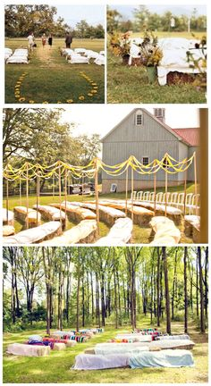 Country wedding ideas. I love the hay bales for seating! http://www.thebridelink.com/blog/2013/03/31/wedding-reception-seating/