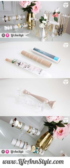 Diy jewelry stand from paper towel tubes and old candle holders