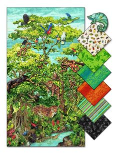 Rainforest Romp is available in stores! The Amazon Rainforest panel is ablaze with color among the tropical foliage featuring a canopy that is home to jaguars, panthers, squirrel monkeys, tropical birds, snakes, lizards, iguanas and frogs. The featured stripe is complemented by a variety of coordinates. Use the Product Finder to find a store near you that carries this collection.
