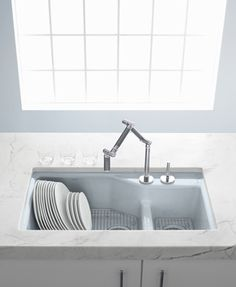 Kohler Indio kitchen sink in Frost and Karbon kitchen faucet - available from Inspirations Harrisburg!