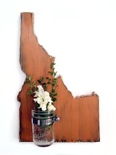 ALL STATES AVAILABLE with Re-purposed Mason Jar Vase/Candle holder Pictured in Rust Pine Wood Sign Wall Decor Rustic Americana Country Chic