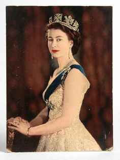 Photographic print of the Queen treated to look like an oil painting, 1953, at Calke Abbey, Derbyshire. Inv. no. 290938. ©National Trust Collections