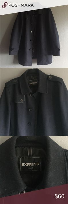 Dark blue express men's pea coat. Size M Dark blue men's pea coat. From Express. Size M. Good condition! Express Jackets & Coats Pea Coats