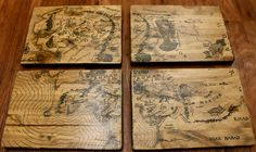Lord of the Rings Map of Middle Earth on wood