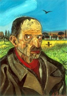 Antonio Ligabue Autoritratto con spaventapasseri / Self-portrait with scarecrow, ca. Roland Barthes, Henri Rousseau, Italian Painters, Art Database, Naive Art, Wood Engraving, Various Artists, Vincent Van Gogh, Anton