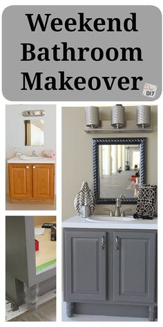 Create the bathroom of your dreams with an inexpensive weekend bathroom makeover Create the bathroom remodel of your dreams with an inexpensive bathroom makeover! Easily completed in a weekend with these 4 DIY bathroom ideas on a budget! Bad Inspiration, Bathroom Inspiration, Home Renovation, Home Remodeling, Bathroom Renovations, Bathroom Makeovers On A Budget, Inexpensive Bathroom Remodel, Bathroom Decor Ideas On A Budget, Remodel Bathroom