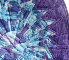 """Round Quilted Table Topper - Purple Dragonflies - Dresden Plate - Table Centerpiece - 18"""" - Reversible"""