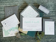 Oh So Beautiful Paper: Elizabeth + Janelle's Modern Mint and Gray Wedding Invitations
