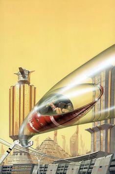 retro_futurism: Peter George Elson 1947-1998, future transportation, futuristic architecture, pyramid, futuristic vehicle