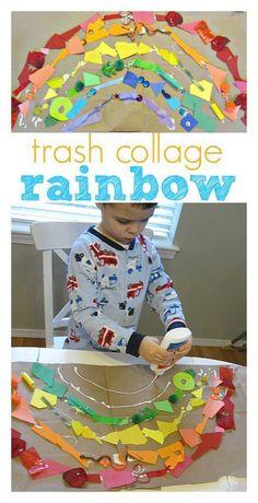 trash collage rainbow craft for kids #GarbageorTrash