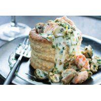 Fiche recette SAQ.com pour Vol-au-vent au saumon et aux champignons de Paris